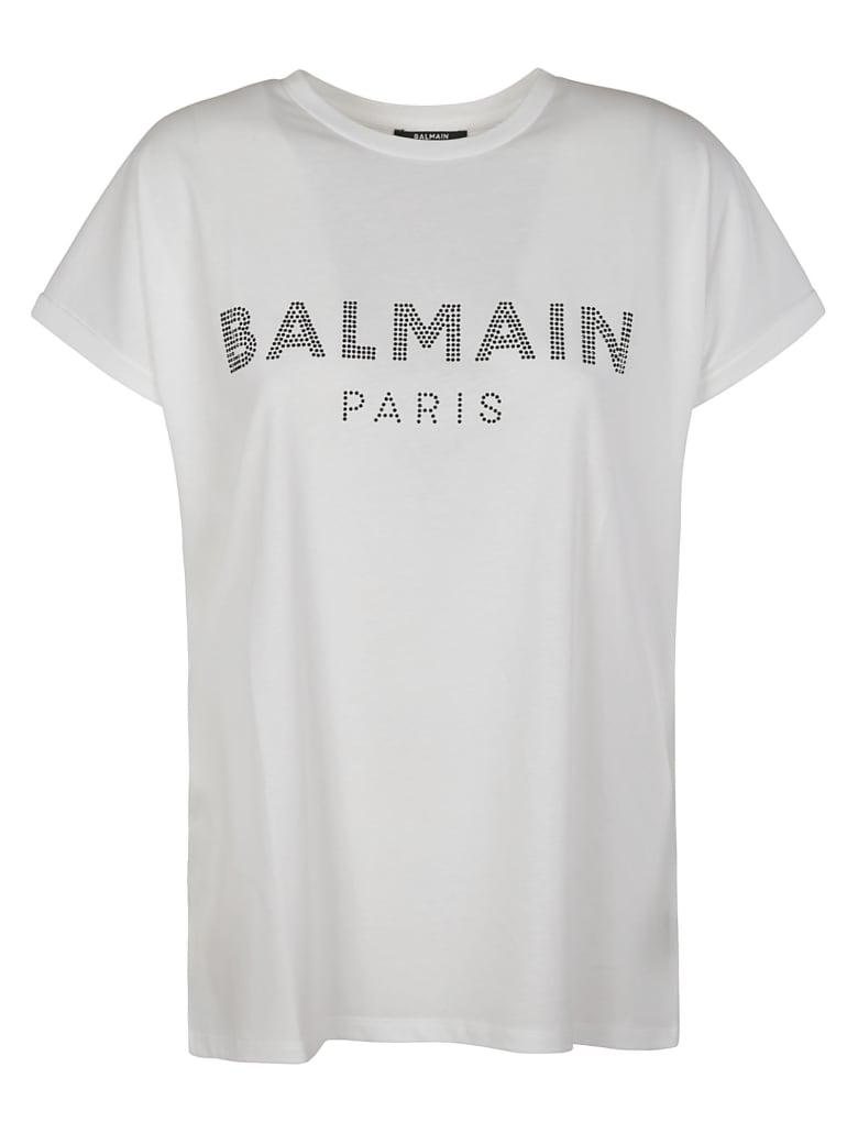 Balmain Studded Logo T-shirt - White