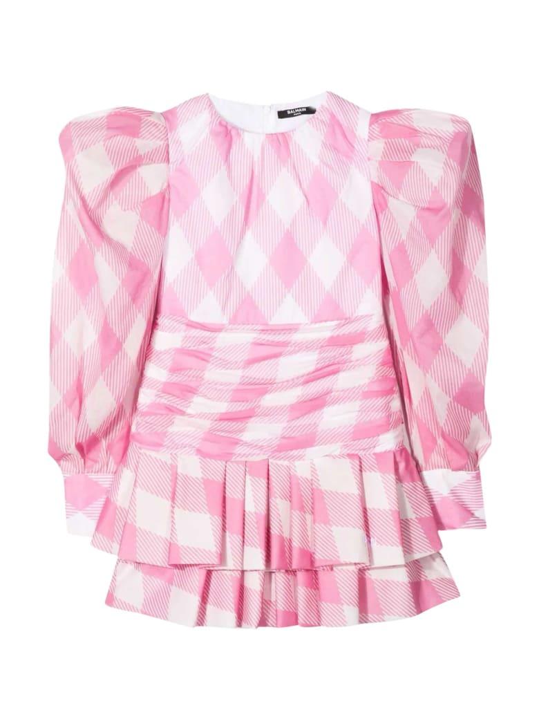 Balmain Teen Pink Dress - Bianco/rosa