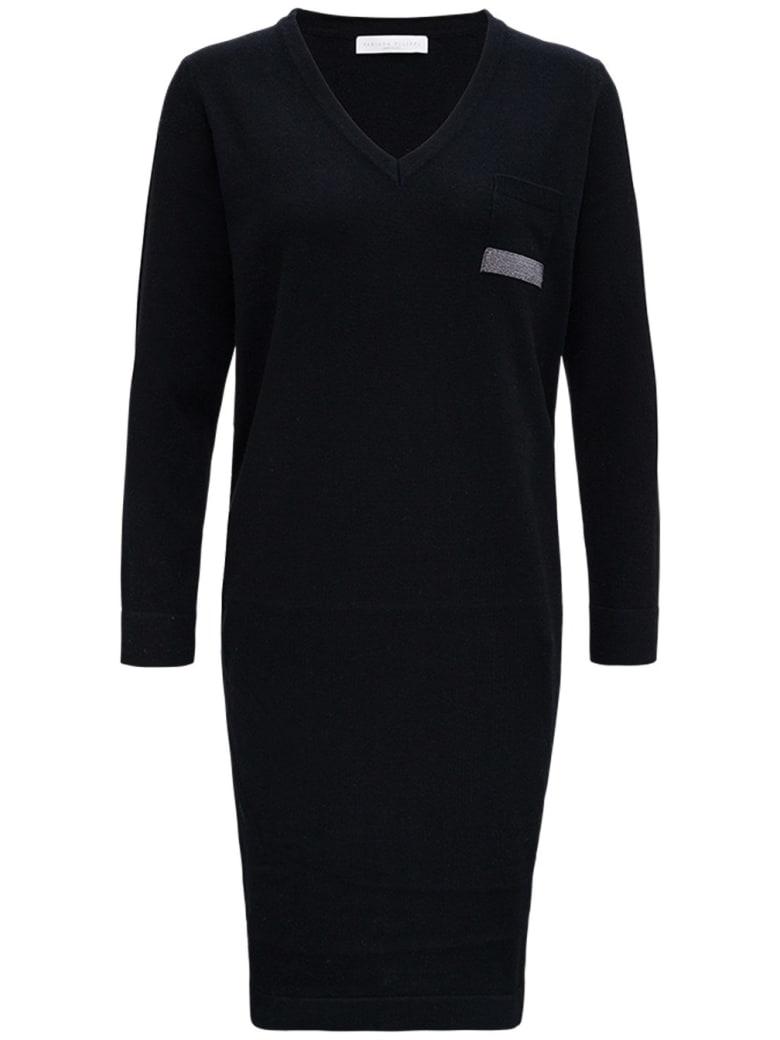 Fabiana Filippi Black Silk And Cashmere Dress With Bright Detail - Black
