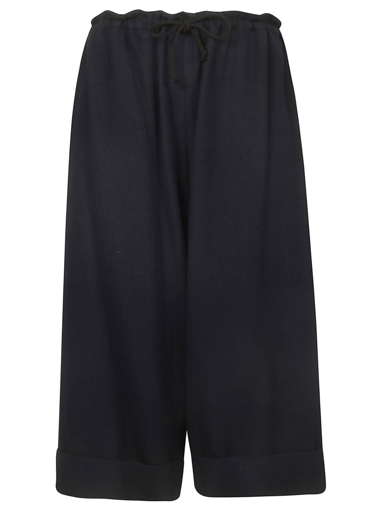 Y's Cropped Length Trousers - Navy