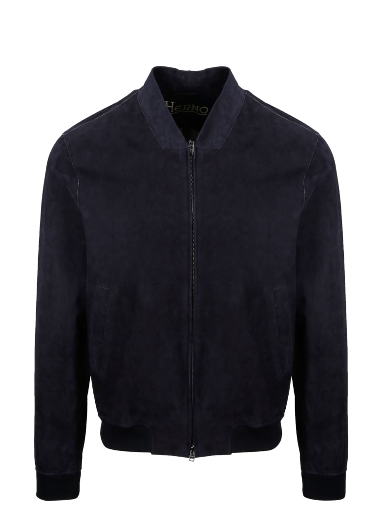Herno Suede Bomber - Blue