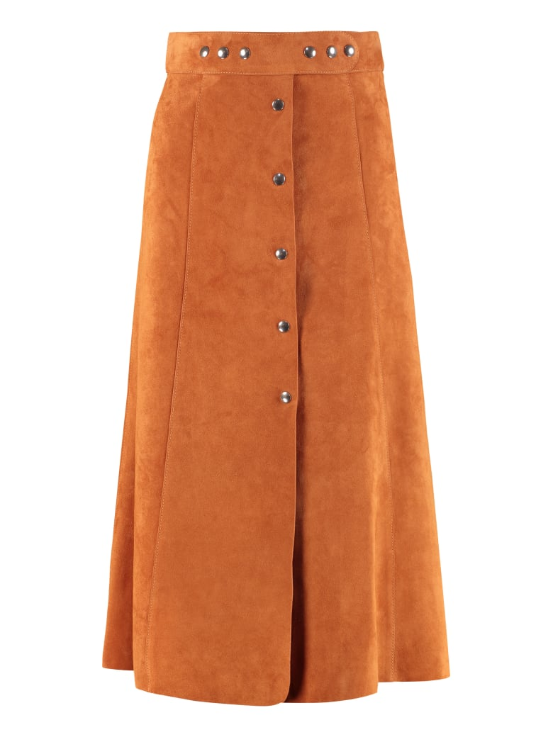 Prada Flared Skirt With Buttons - Saddle Brown