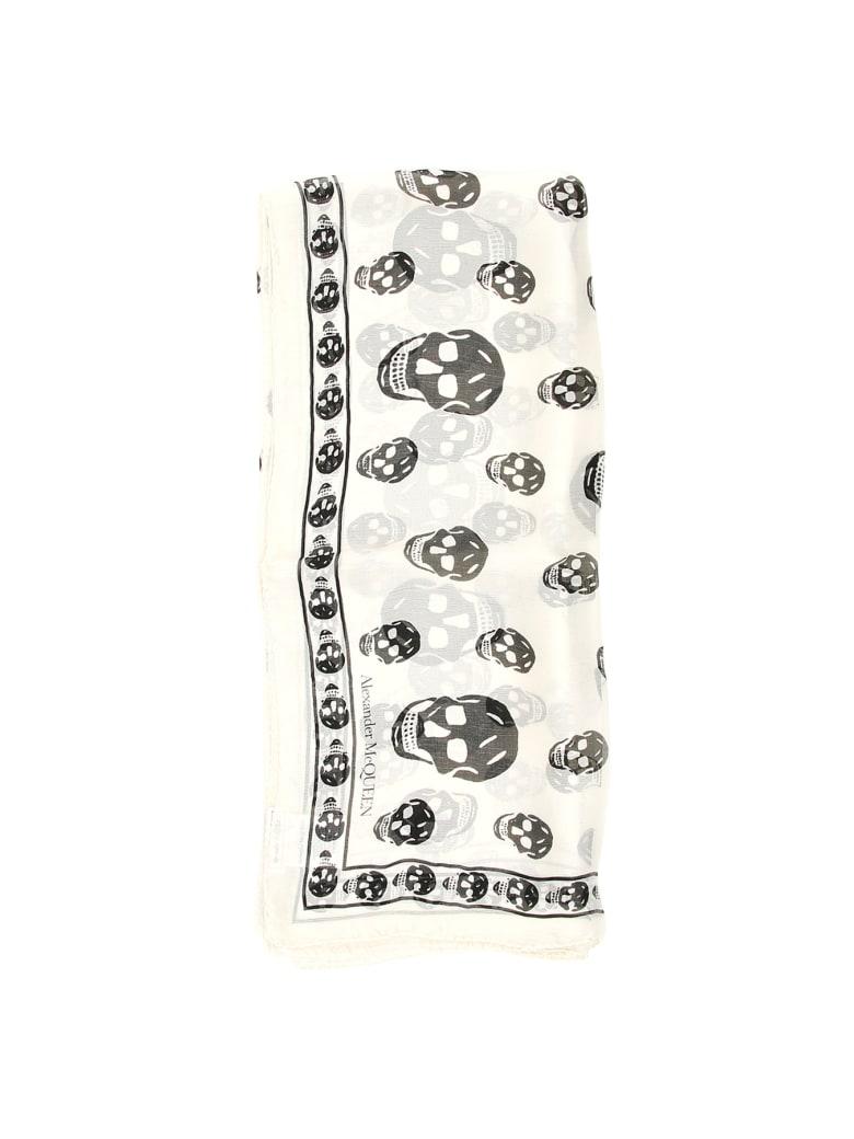 Alexander McQueen Silk Skull Scarf - IVORY BLACK (White)