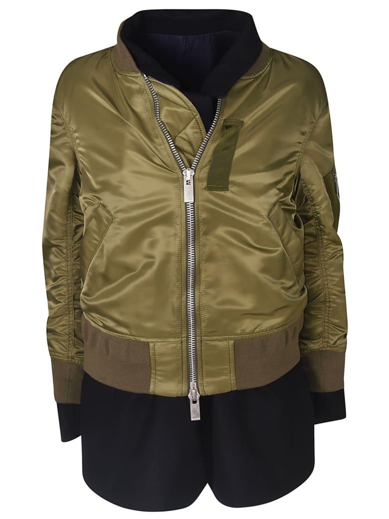 Sacai Double Layered Zipped Jacket - Green/Black