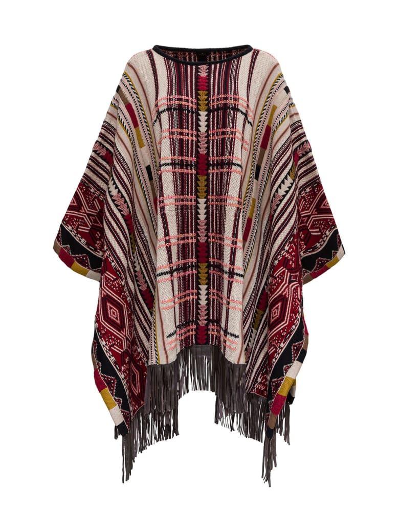 Etro Ikat Jacquard Poncho With Fringes - Multicolor