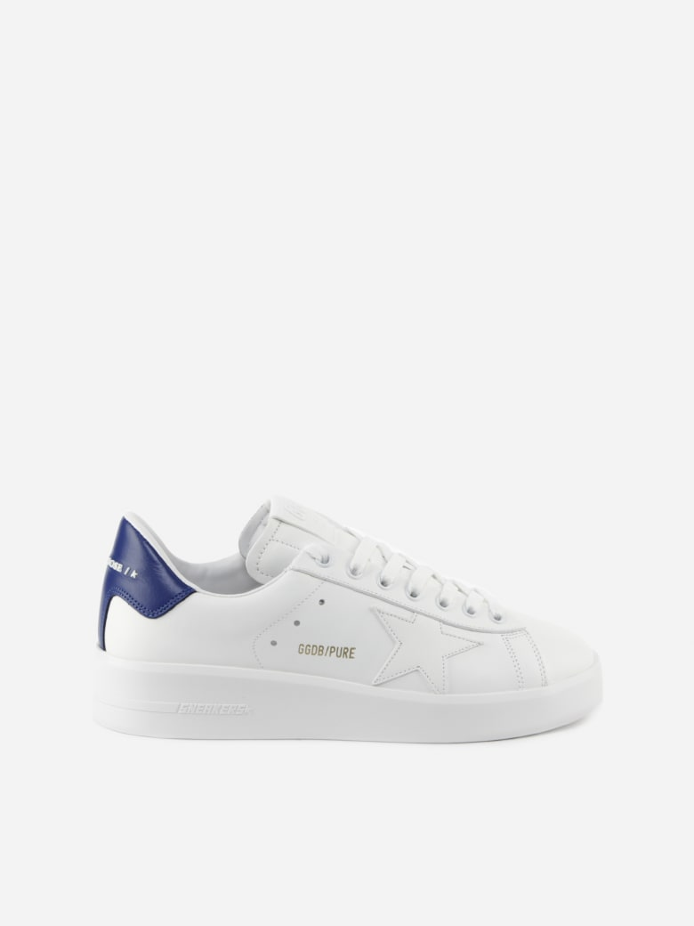 Golden Goose Purestar Sneakers In Leather With Contrasting Heel Tab - White/bluette