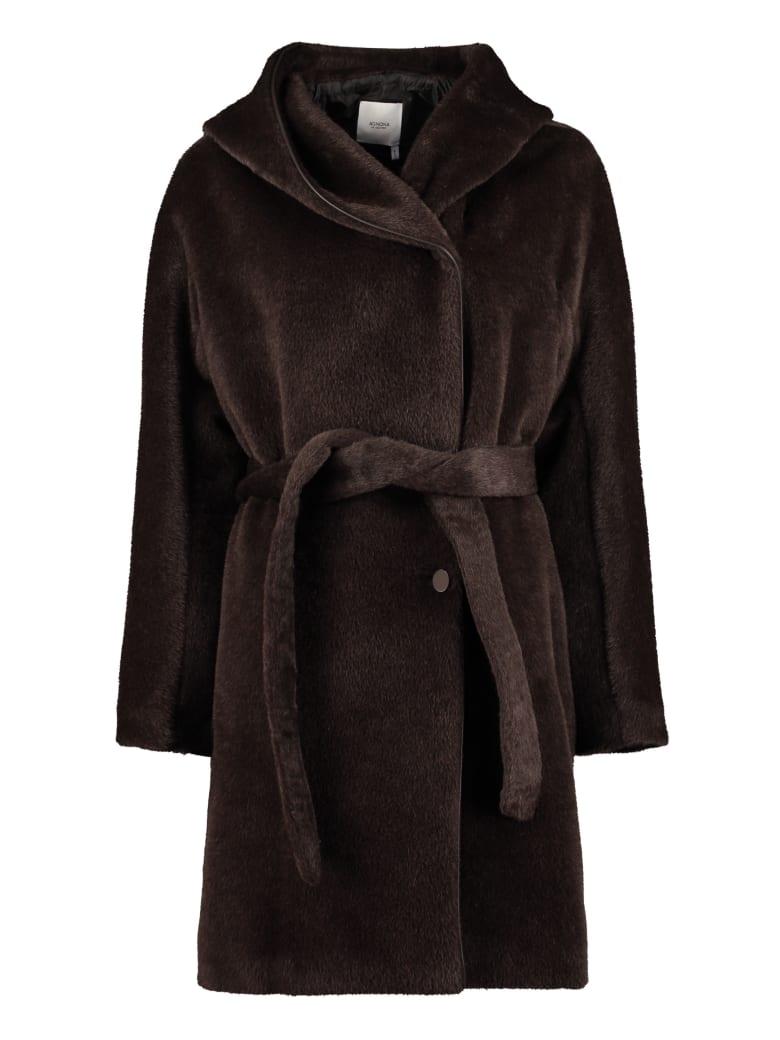 Agnona Faux Fur Coat - brown