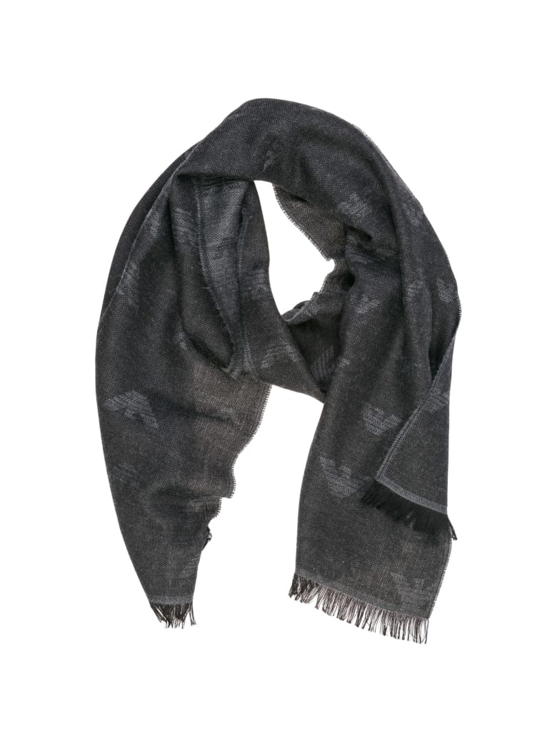 Emporio Armani  Wool Scarf - Anthracite grey