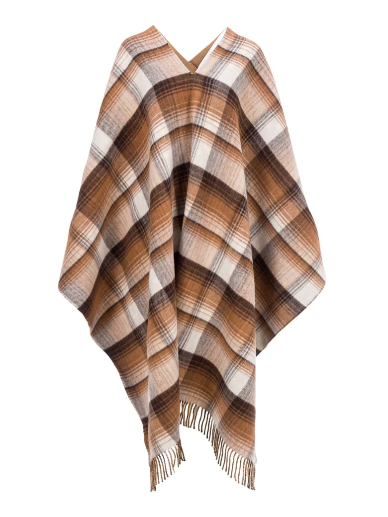 Gucci Reversible Gg Wool Poncho - BEIGE