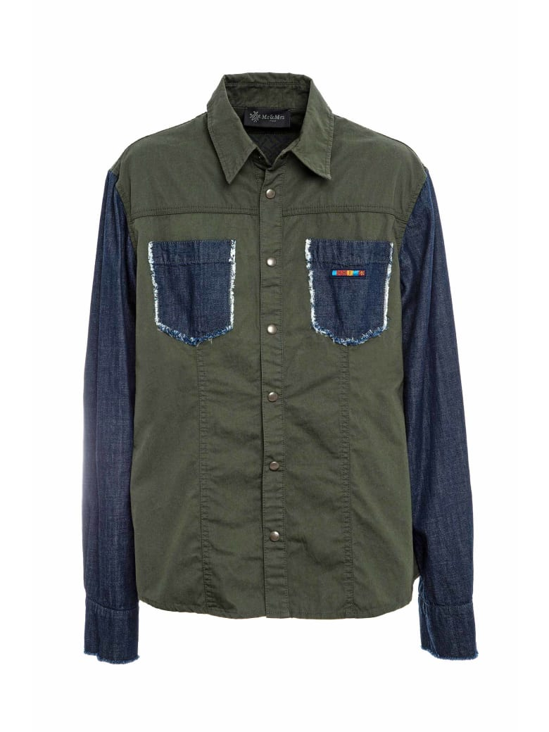 Mr & Mrs Italy Denim And Canvas Shirt For Man - JUNGLE GREEN/BLUE DENIM