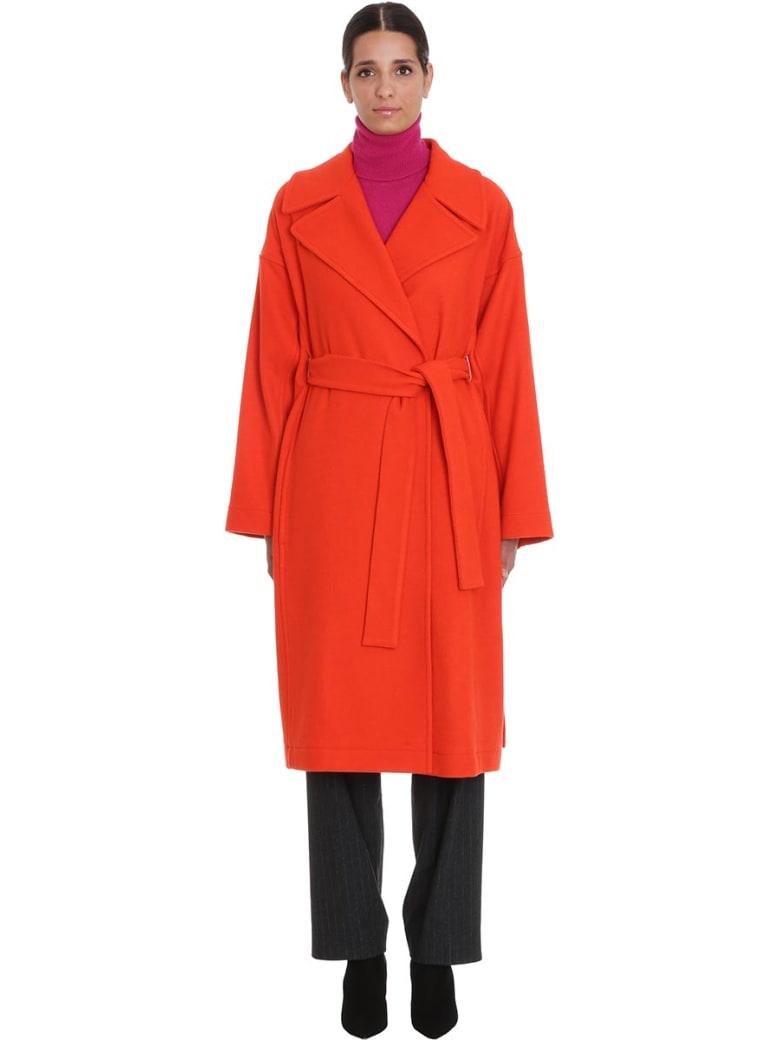 Maison Flaneur Coat In Orange Cashmere - orange