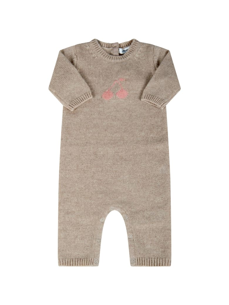 Bonpoint Beige Babygrow For Babygirl With Cherries - Naturale