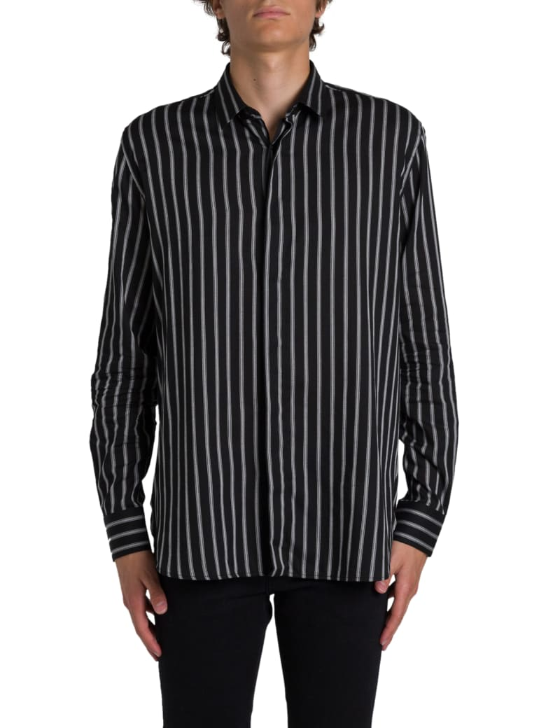 Saint Laurent Shirt With Chalk Stripes - Nero