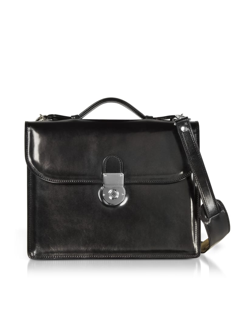 L.A.P.A. Classic Black Leather Briefcase - Black