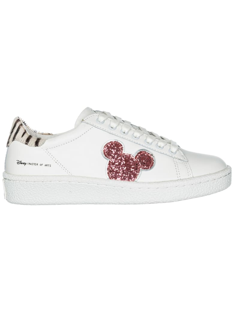 M.O.A. master of arts  Shoes Leather Trainers Sneakers Disney Mickey Mouse - White / Pink