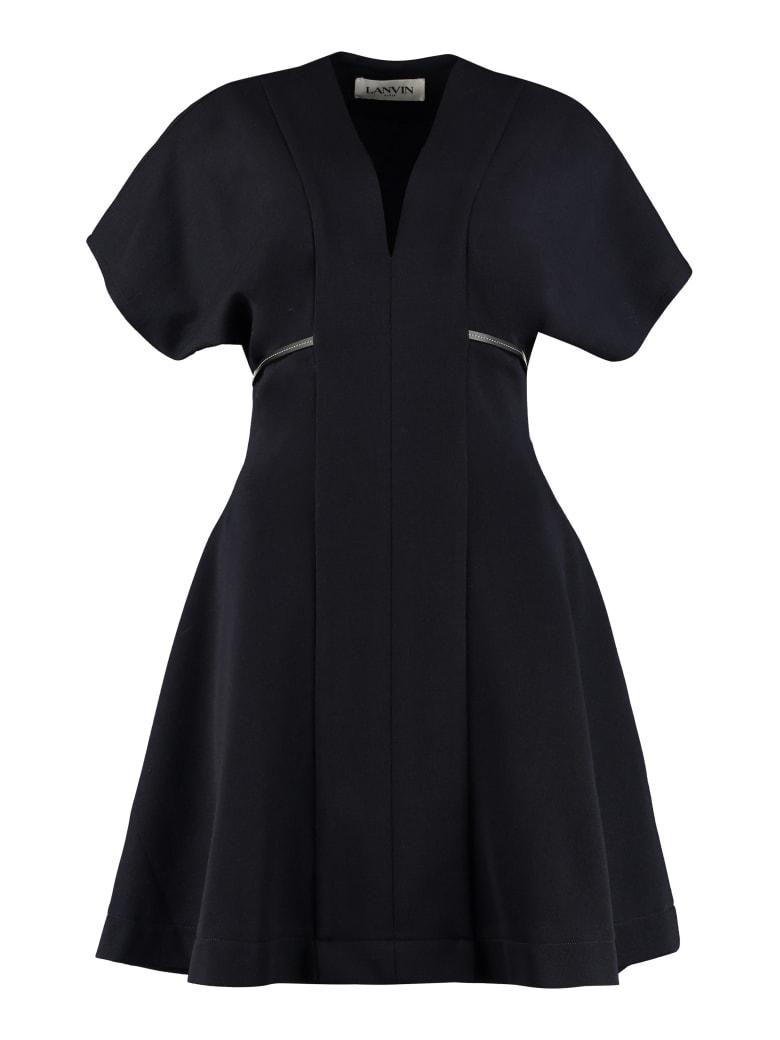 Lanvin Belted Jersey Dress - blue