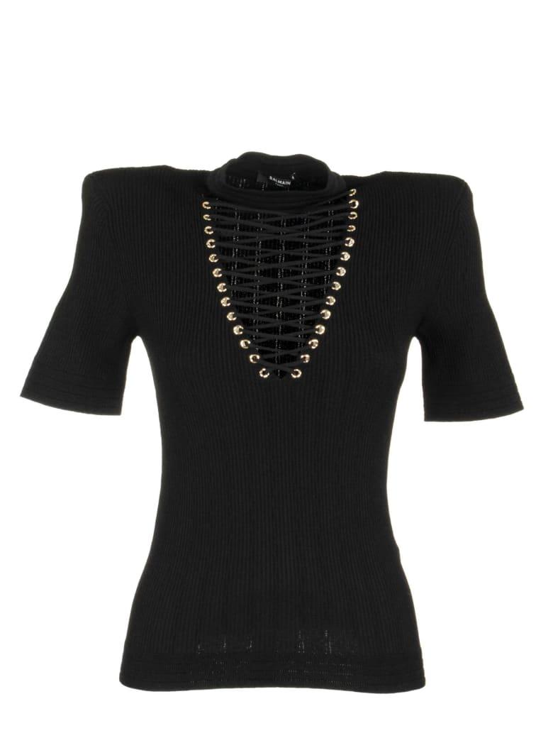 Balmain Top With Lace Up V Neck Black - Black