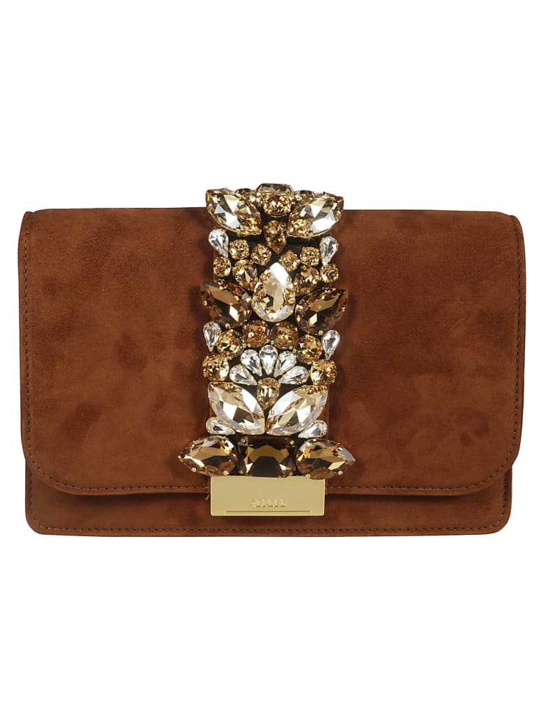 Gedebe Crystal Embellished Shoulder Bag - Python Brown