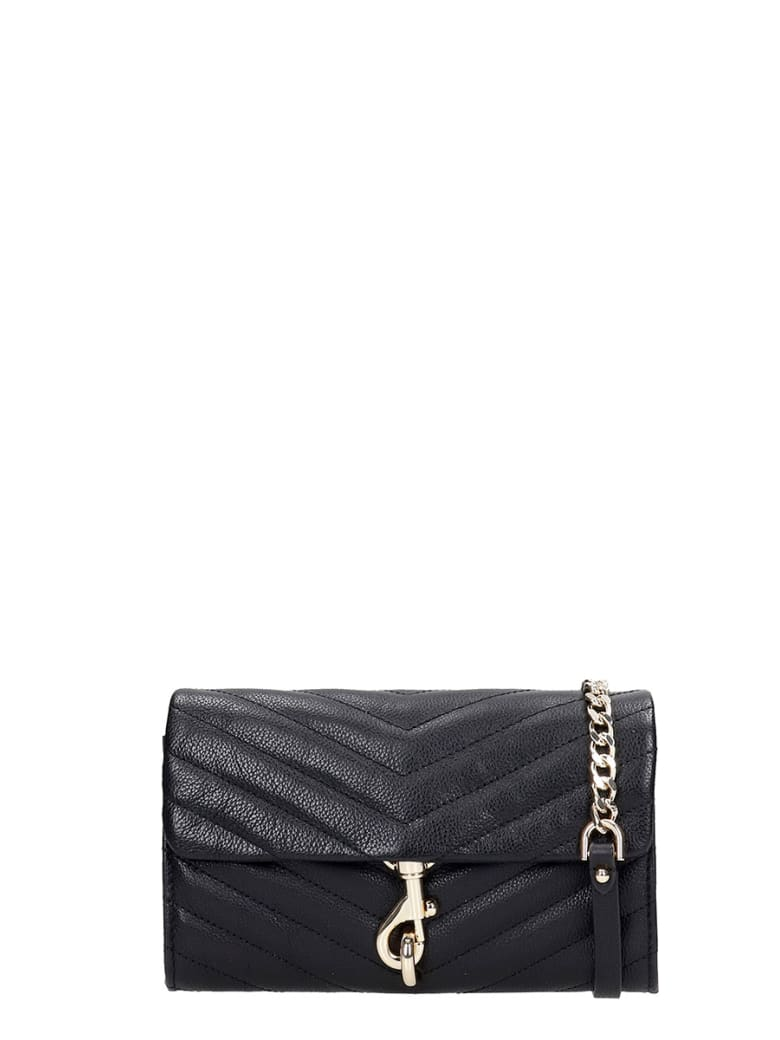 Rebecca Minkoff Edie Wallet On Shoulder Bag In Black Leather - black