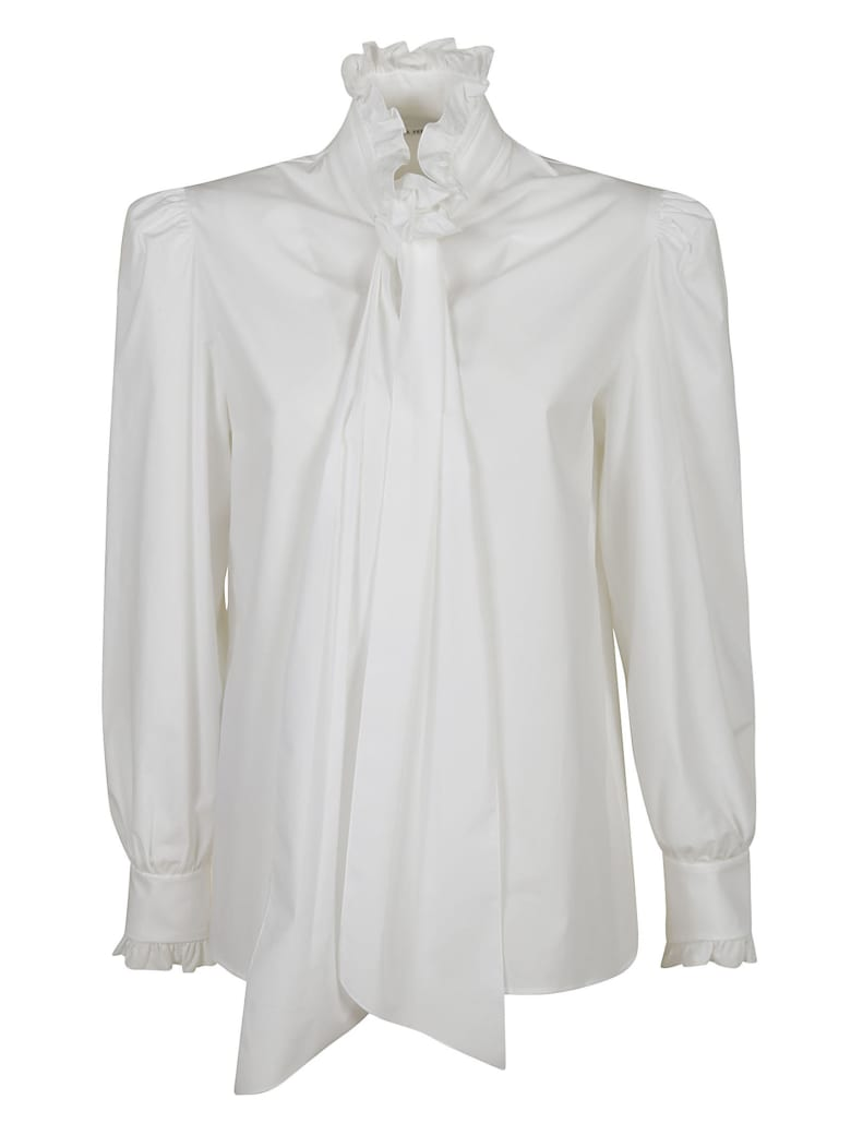 Alberta Ferretti Ruffled Collar Bow Applique Shirt - White