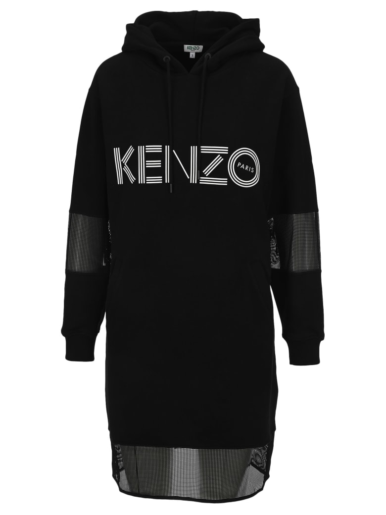 Kenzo Kenzo Logo Sweatshirt Dress - BLACK