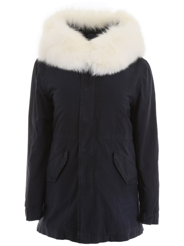 Mr & Mrs Italy Short Parka With Fur And Shearling - MIDNIGHT BLUE (Blue)
