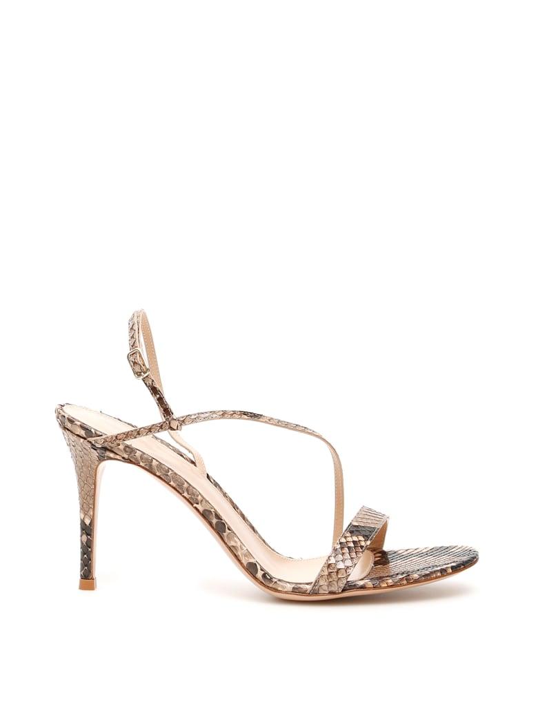 Gianvito Rossi Python Manhattan Sandals - NUDE (Beige)