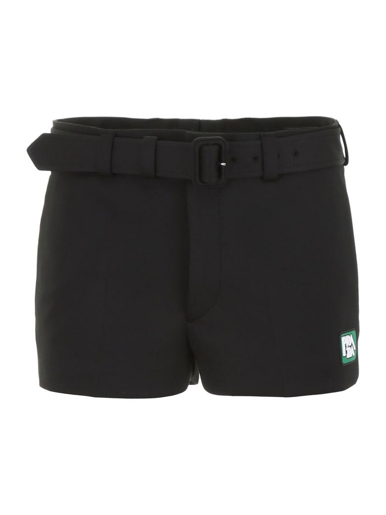 Prada Shorts With Logo Patch - NERO (Black)