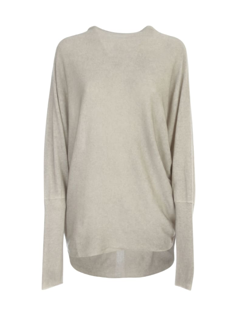 Avant Toi Roll Neck Bicolor Bat Sleeves Sweater - Taupe