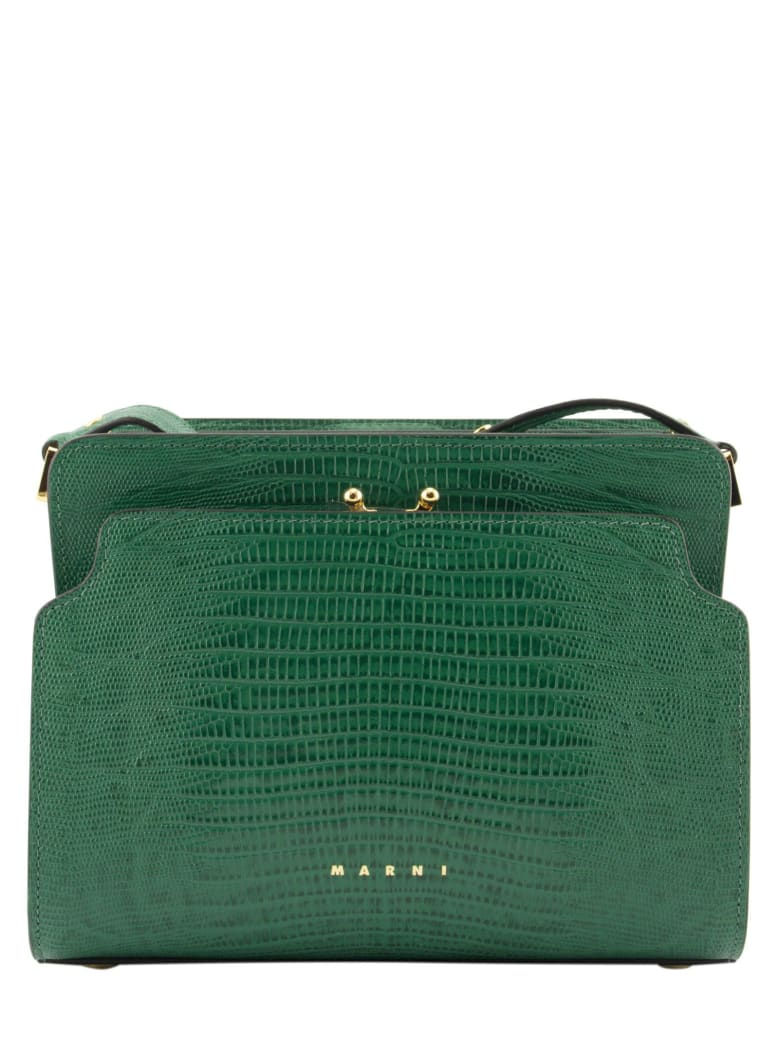 Marni Trunk Reverse Shoulder Bag In Lizard-print Calf - Green