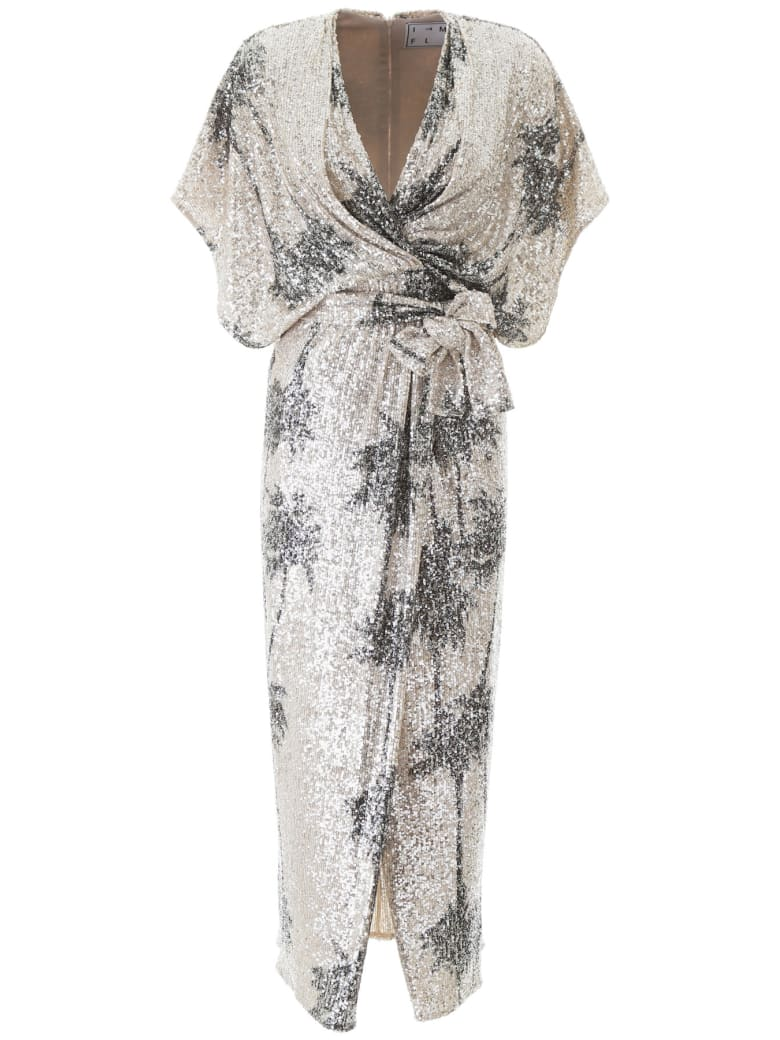 In The Mood For Love Ancens Sequined Dress With Palm Trees - SILVER (Silver)