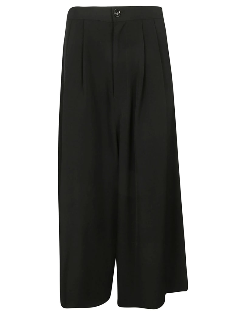 Y's Cropped Wide Leg Trousers - Black