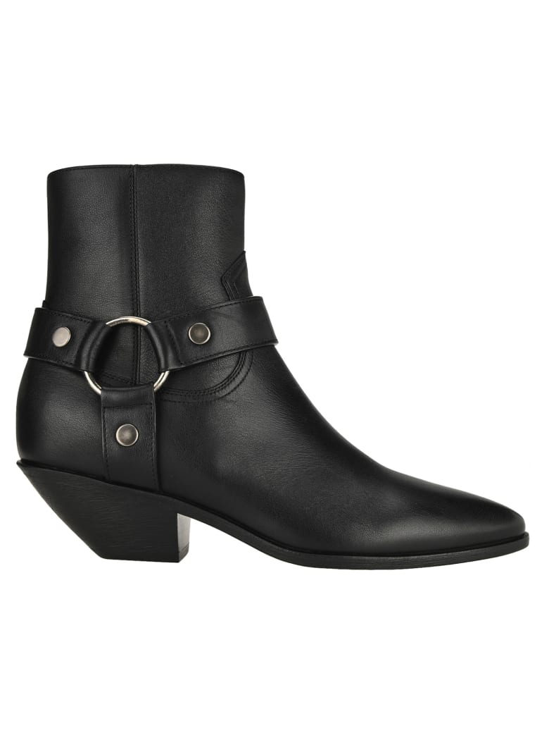 Saint Laurent West Harness Ankle Boots - BLACK