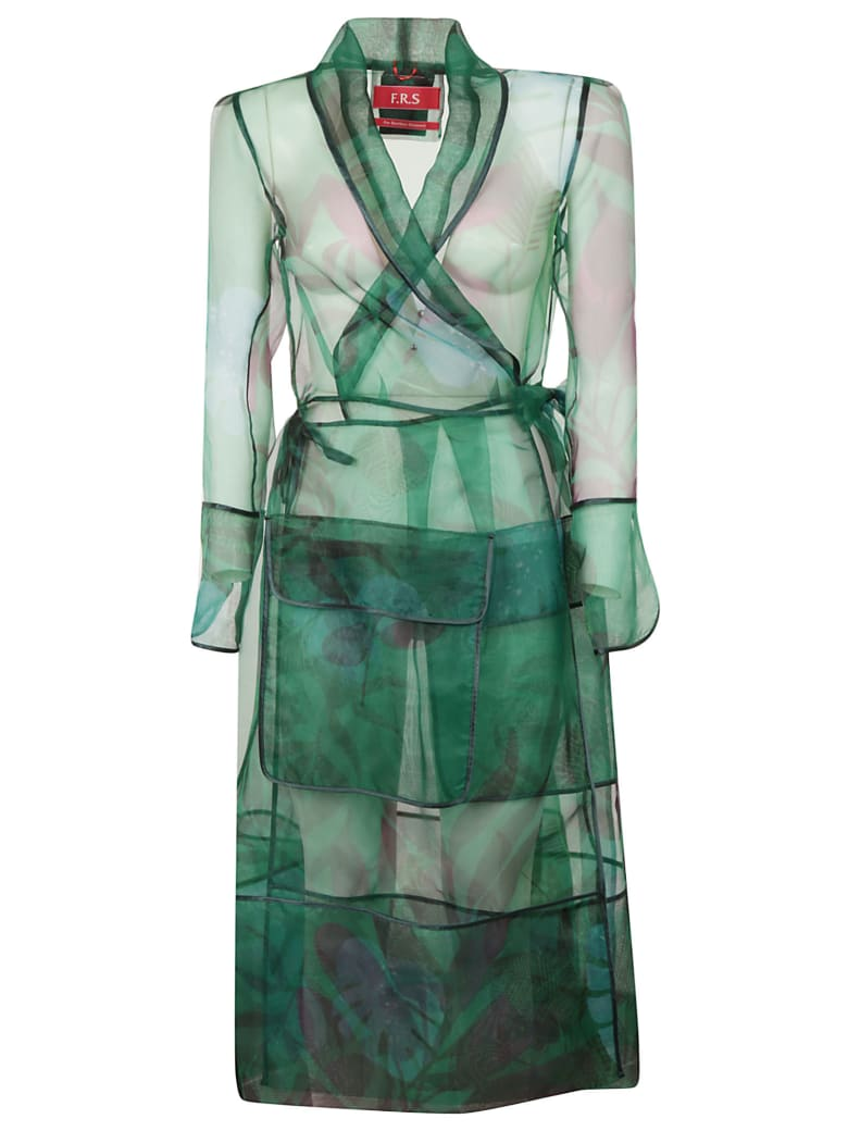 For Restless Sleepers Floral Print Robe Coat - Fdo Verde