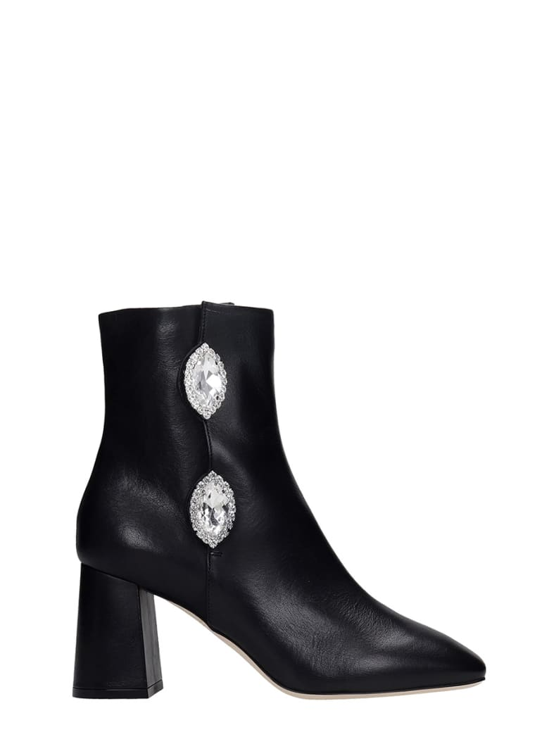 Giannico Julie  High Heels Ankle Boots In Black Leather - black