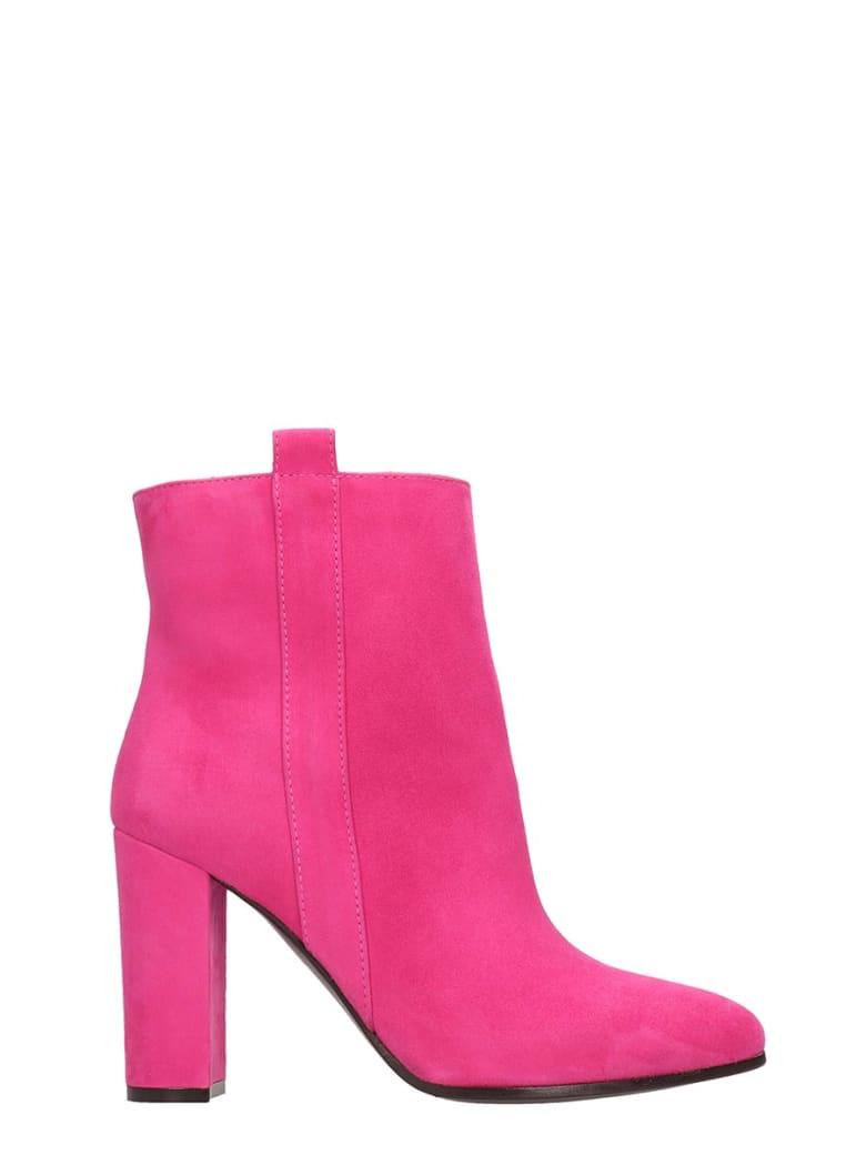 Via Roma 15 Fucsia Suede Ankle Boots - fuxia