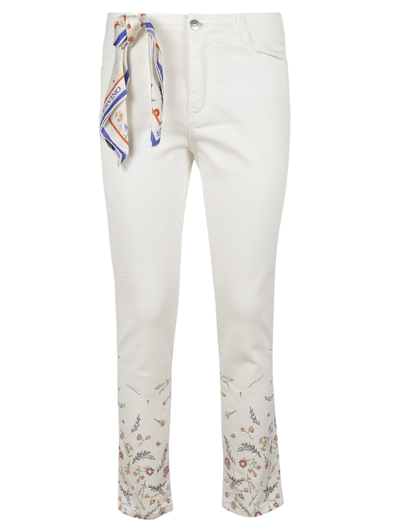 Ermanno Scervino Floral Rhinestone Embroidery Trousers - grey