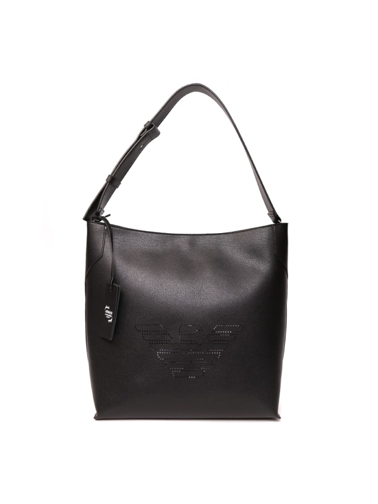 Emporio Armani Black Leather Shoulder Bag - Black