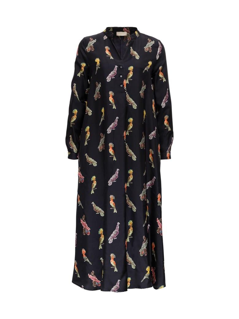 Momonì Birds Long Silk Dress - Black