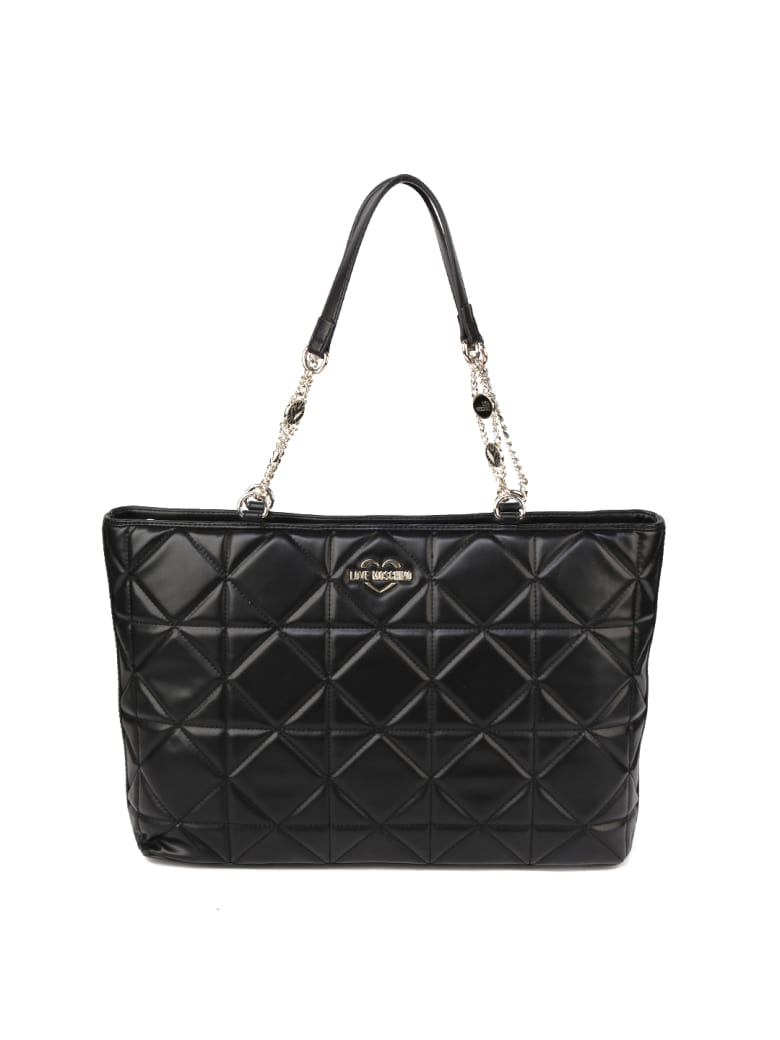 Love Moschino Black Quilted Faux Leather Shopper Bag - Black