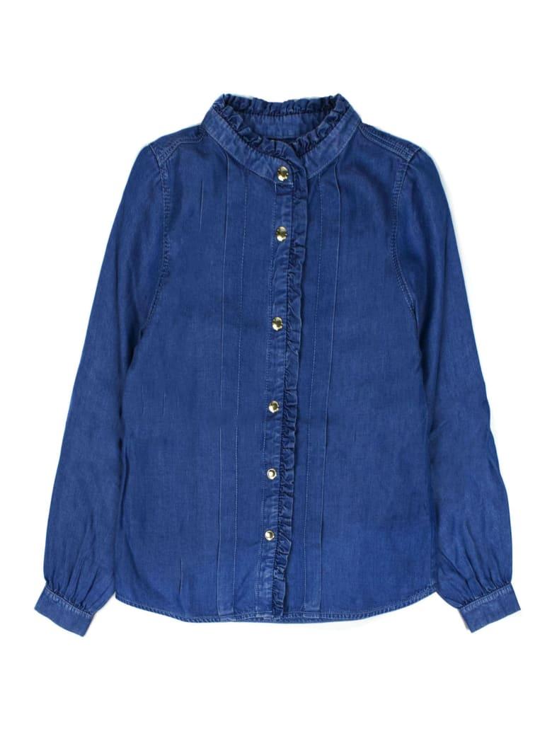 Chloé Blue Ruffle-trimmed Denim Shirt - Jeans