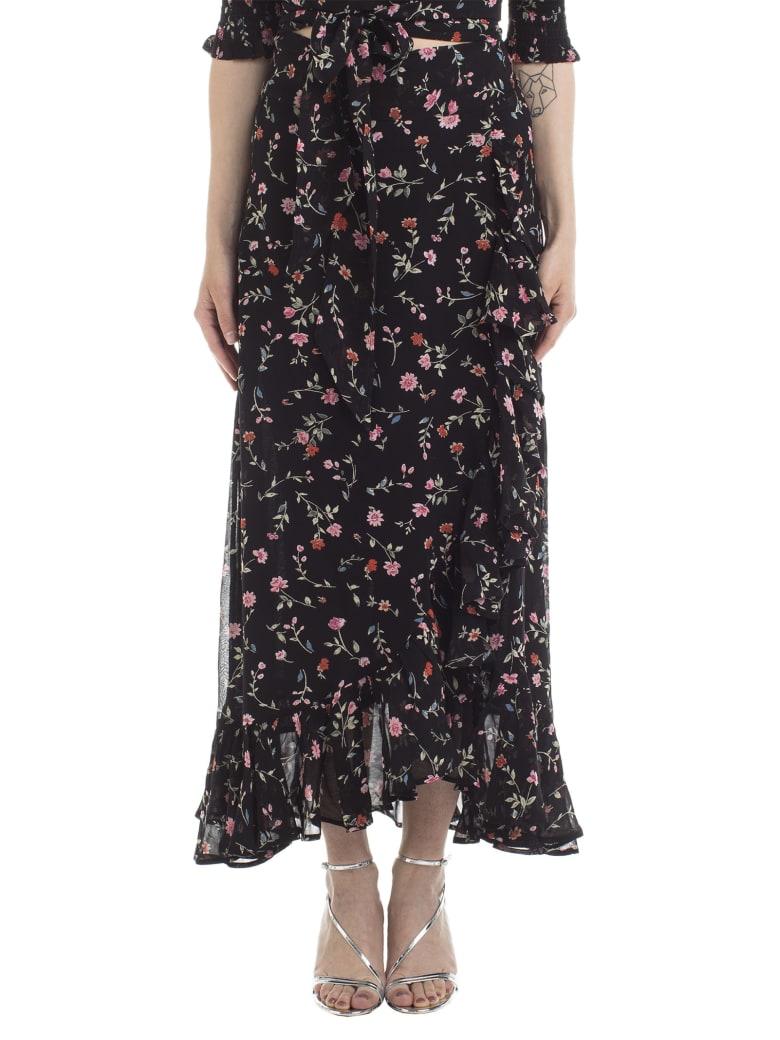 Ganni Ganni Floral Print Draped Skirt - Black