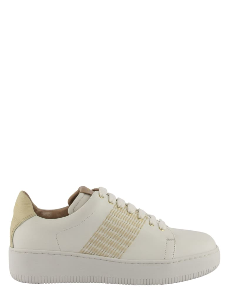 Agnona Nappa Calf Leather Sneakers With Mohair Stitching - White