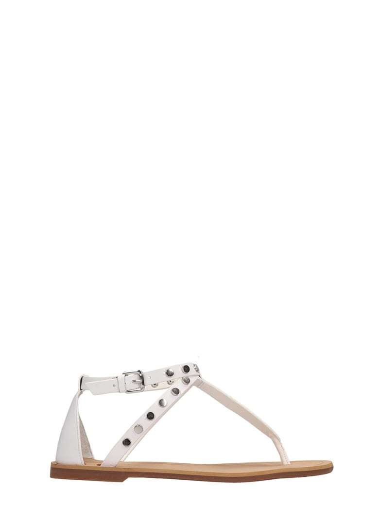 Kendall + Kylie White Leather Flip Flops Royal Sandals - white
