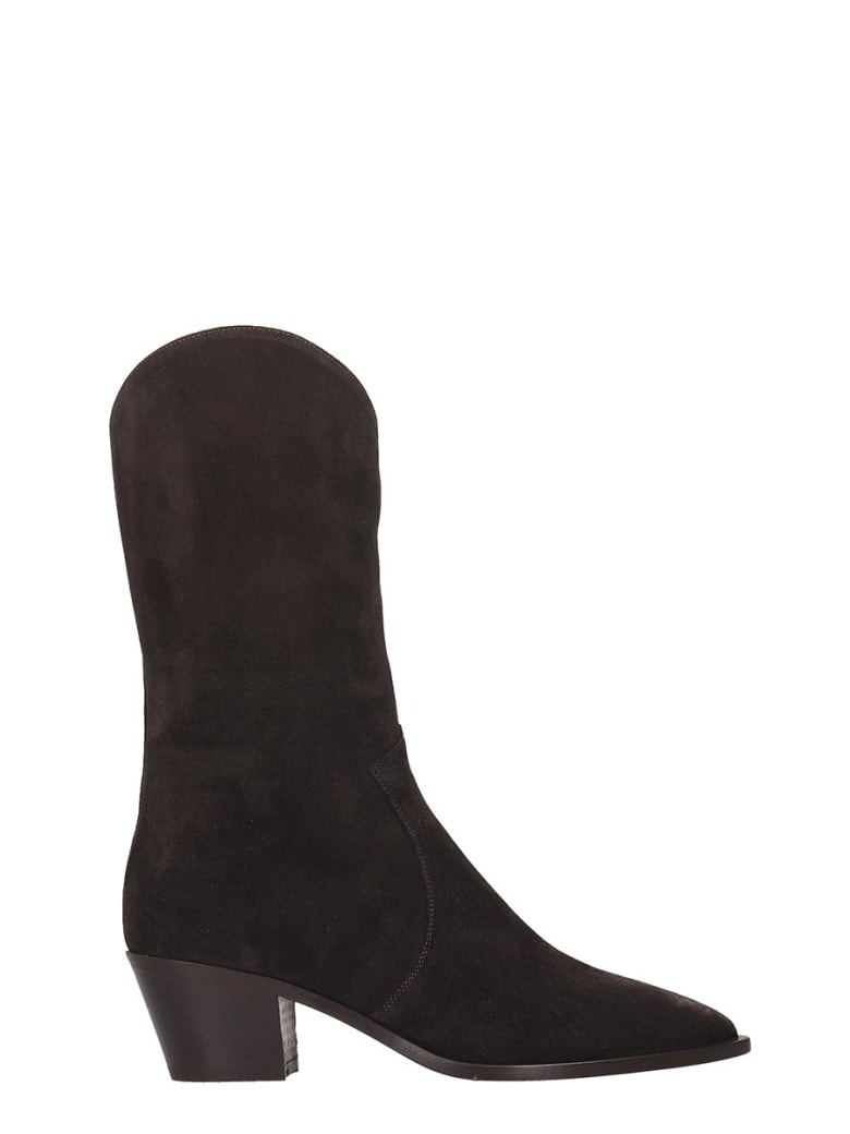 The Seller Texan Boots In Brown Suede - brown