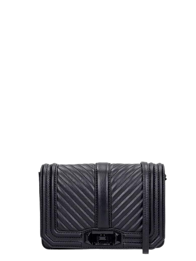 Rebecca Minkoff Chevron Quilted Shoulder Bag In Black Leather - black