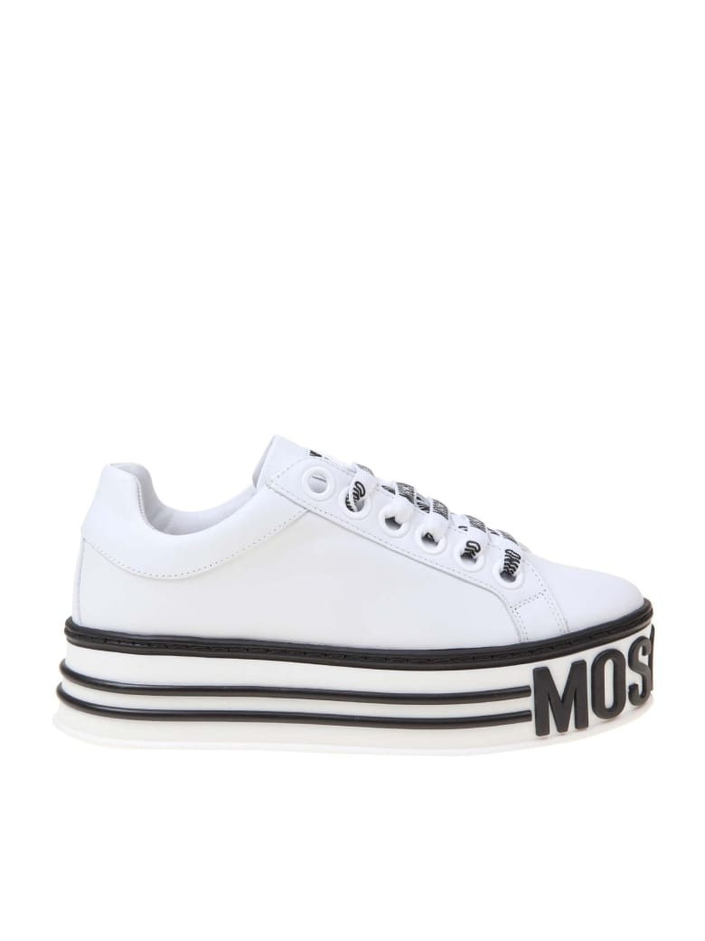 Moschino Platform Sneakers In White Leather - WHITE