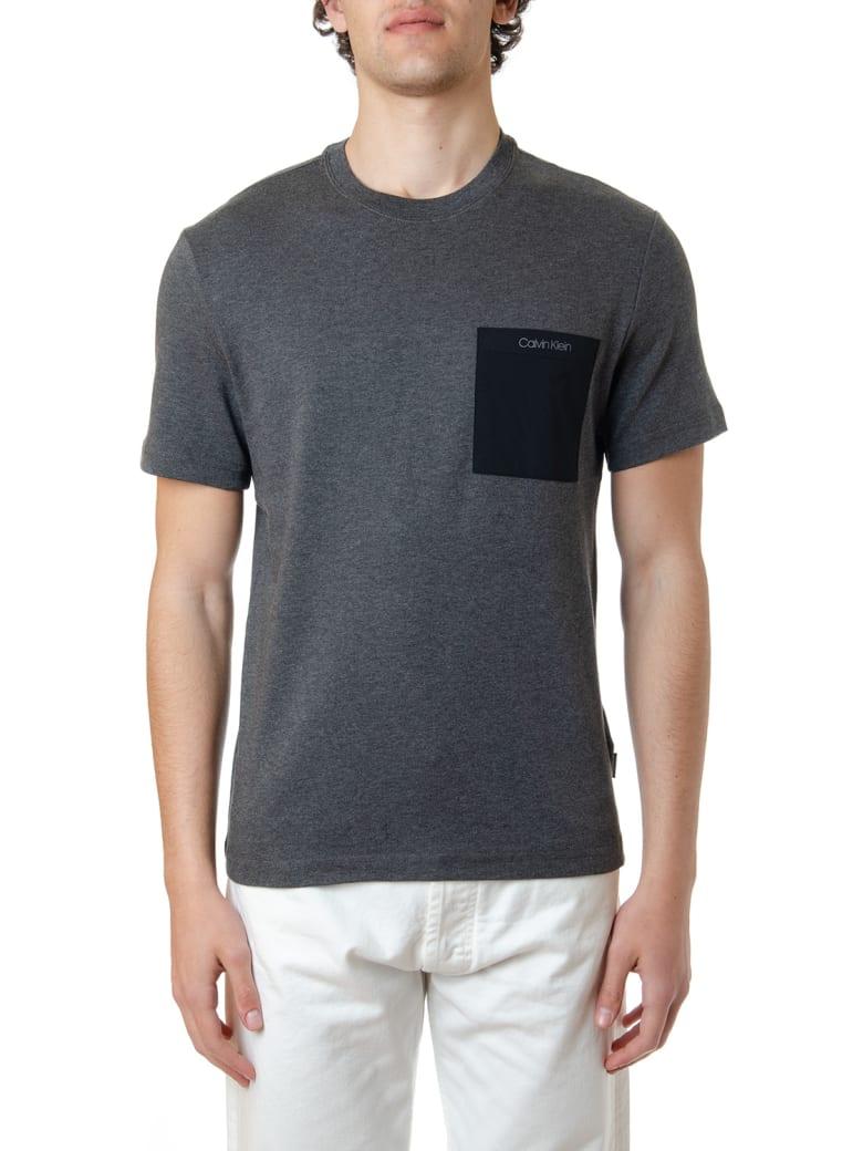 Calvin Klein Grey Cotton T-shirt With Logo Pocket - Dark grey
