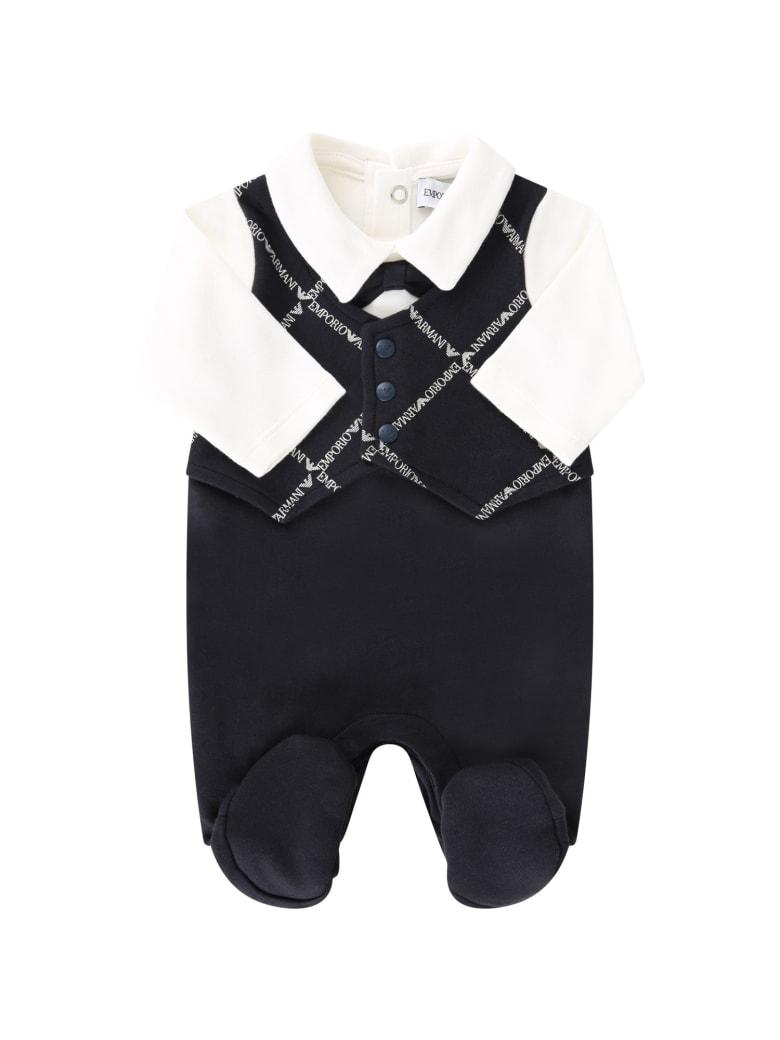 Armani Collezioni Blue Babygorw For Baby Boy With Logos - Blu/bianco