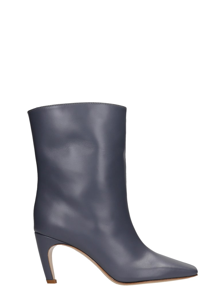 GIA COUTURE Atena 80 High Heels Ankle Boots In Grey Leather - grey
